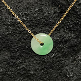 Jade Round Donut shape Gold Necklace green