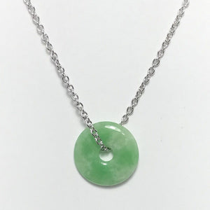 Jade Round Donut Shape Silver Necklace