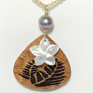 Koa Wood Broad Teardrop Shaped Fern Engraved Pendant with Plumeria Flower Shape Carved Shell and Dark Pearl Necklace