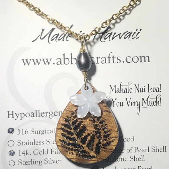 Koa Wood Fern Pendant - Plumeria Flower and Pearl Necklace