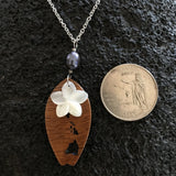 Koa Wood Hawaii Island Engraved Surfboard shape Pendant with Plumeria Flower Carved Shell and Dark Pearl Necklace