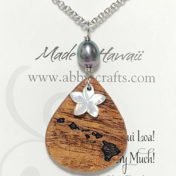 Koa Wood Hawaiian Island Chain Engraved Pendant with Plumeria Flower Shape Carved Shell and Dark Pearl Necklace