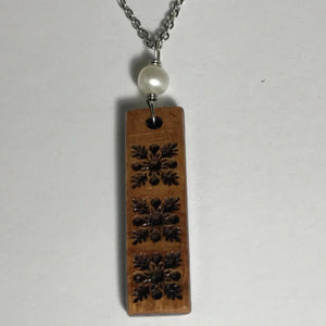 Koa Wood Hawaiian Quilt Pattern Inspired Pendant with White Pearl Necklace