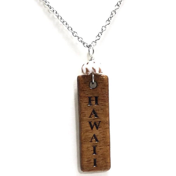 Koa Wood Pendant Necklace ~ HAWAII