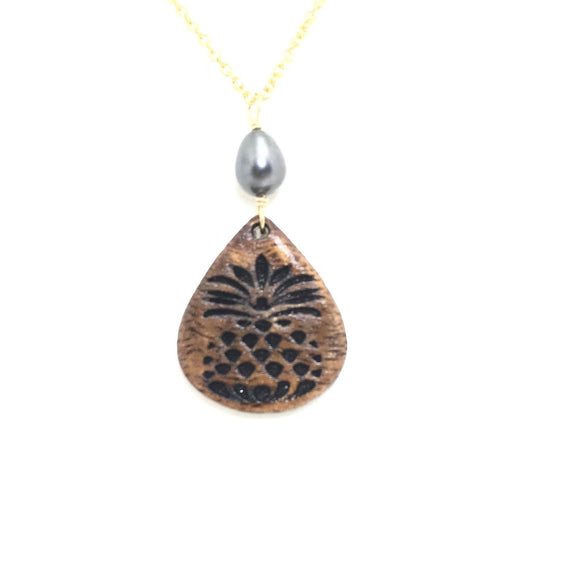 Koa Wood Pineapple Engraved Teardrop Shaped Pendant with Dark Pearl Necklace - Gold