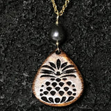 Koa Wood Pineapple Pendant Gold Necklaces
