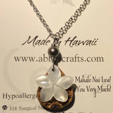 Koa Wood Tear Drop Plumeria Necklace