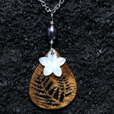 Koa Wood Teardrop Shaped Fern Engraved Pendant with Plumeria Flower Shaped Carved Shell Pendant and Dark Pearl Necklace