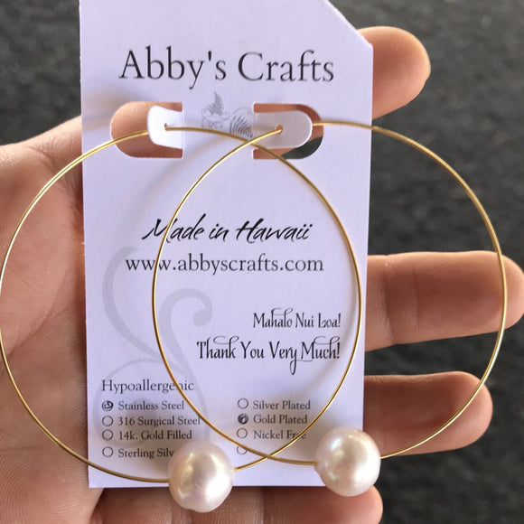 Large White Pearl Gold Hoop Earrings