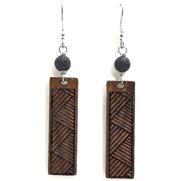 Lauhala Hawaii Koa Wood earrings