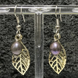 Maile Leaf Shaped Dangle Fish Hook Earings with Dark Color Pearls
