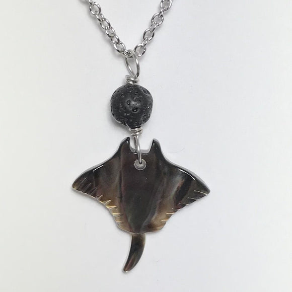 Manta Ray with Lava Rock Silver Necklace