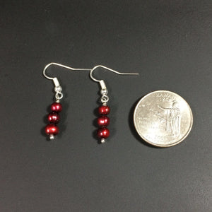 Maroon Colored Pearl Earrings