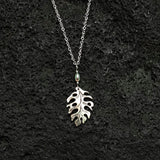 Monstera Leaf Black Mother of Pearl Shell with Pearl Silver Necklace