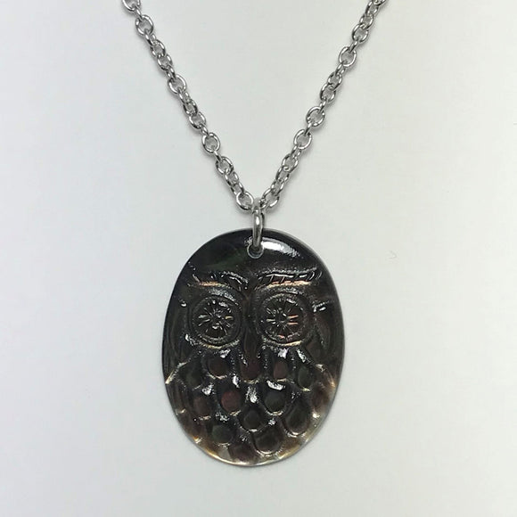 Owl ( Pueo ) Silver Necklace