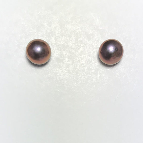 Pearl Stud Earrings 8mm (purple)