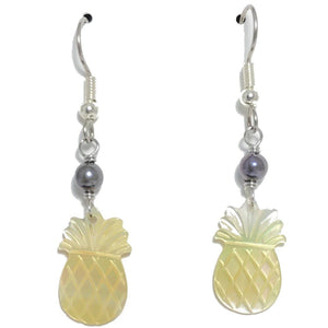 Pineapple Earrings (Mother of Pearl Shell) with Freshwater Pearls