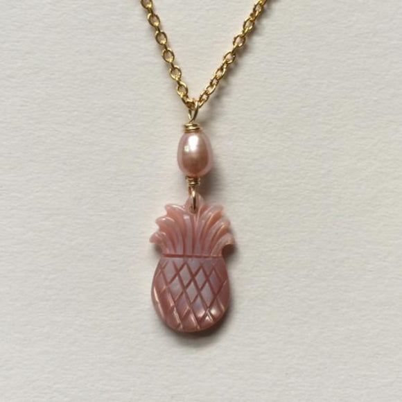 Pink Pineapple Necklace Gold chain (pink MOP Shell with pink Freshwater Pearl) 14k Gold Filled Wire