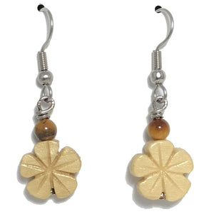 Plumeria and Tiger's Eye Earrings
