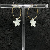 Plumeria Flower Earrings - Gold Hoop
