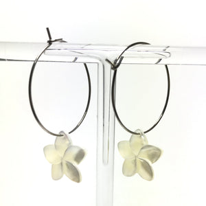 Plumeria Flower Earrings - Silver Hoop