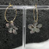 Plumeria Flower Gold Hoop Earrings