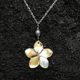 Plumeria with Pearl Silver Necklaces