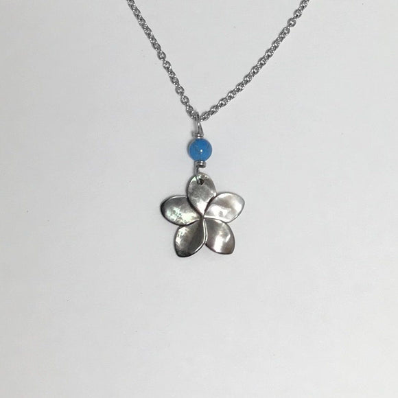 Plumeria with Turquoise petite Pendants silver surgical steel necklace