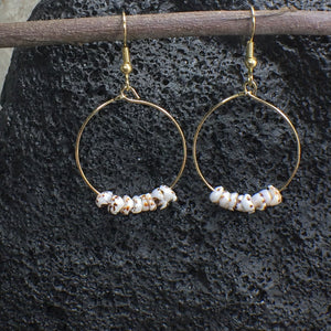 Puka Shell Gold Hoop Earrings