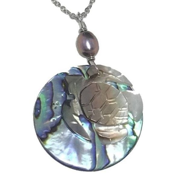 Sea Turtle Mother of Pearl Shell and Abalone Shell with Freshwater Pearl Necklace