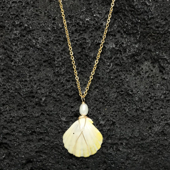 Sunrise Shell - 14K Gold Filled Wire Wrap with Gold Surgical Steel Necklace