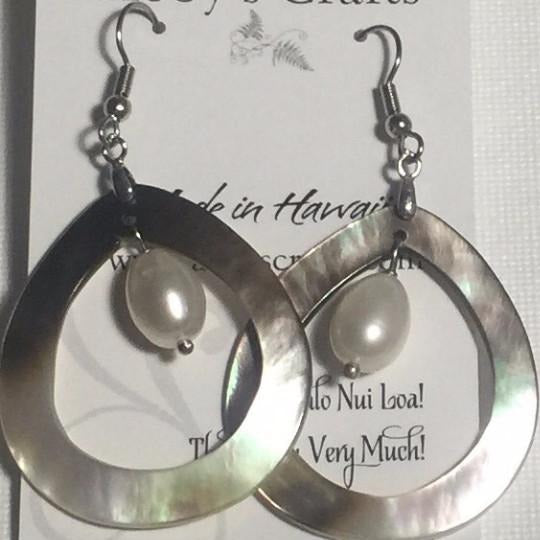Teardrop Earrings Mother of Pearl Shell and White Freshwater Pearl