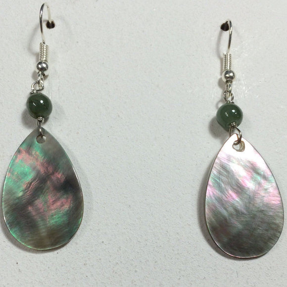 Teardrop Shell with Jade Bead Earrings