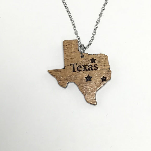 Texas Koa Wood Silver Necklace
