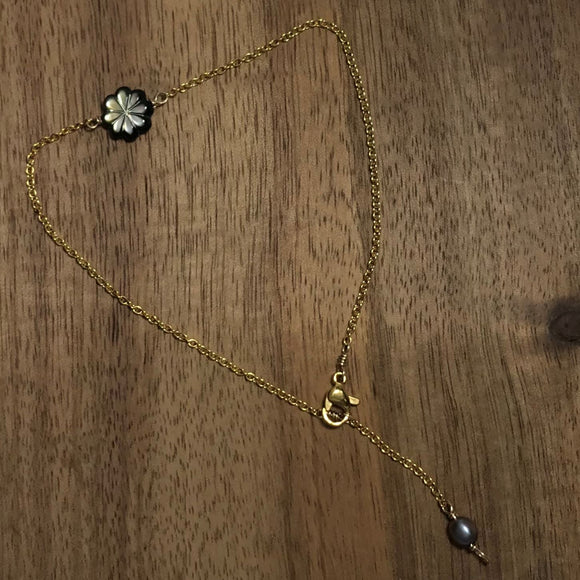 Tiare Flower and pearl Gold Ancklet