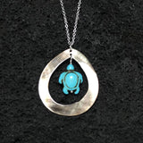 Turquoise Color Turtle Teardrop Silver Necklace