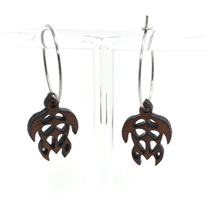 Turtle Koa Wood Hoop Earrings silver 20mm