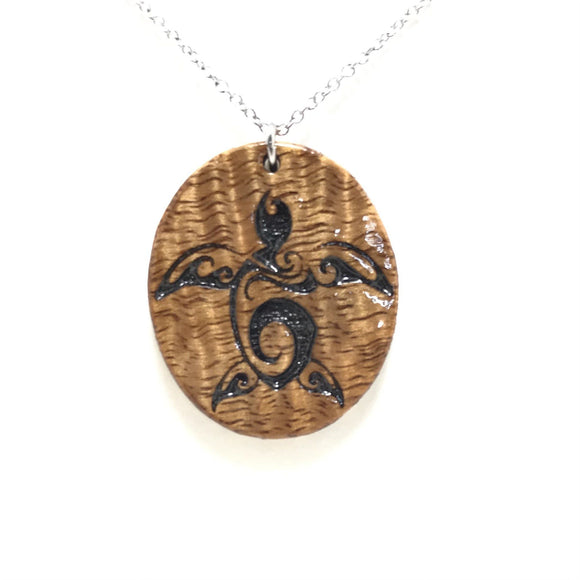 Turtle Koa Wood Necklace