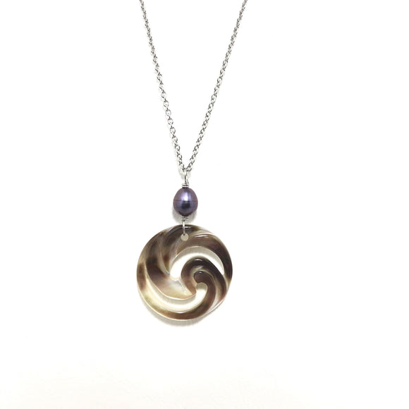 Wave and swirl symbol Mother of Pearl Shell Necklace