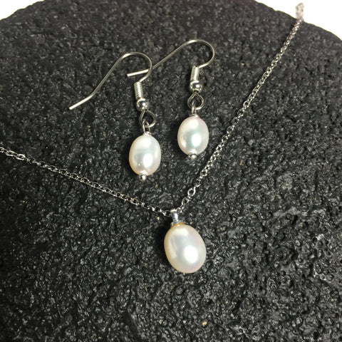 White Freshwater Pearl Necklace and Earring Set