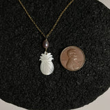 White Pineapple MOP Shell Necklace with Pink Pearl Gold