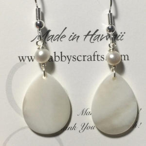 White Tear Drop Shells with White Pearls Earrings