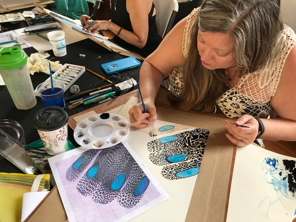 Nick Mayer Art Workshop Focus on Feathers Catalina Island Fish Art