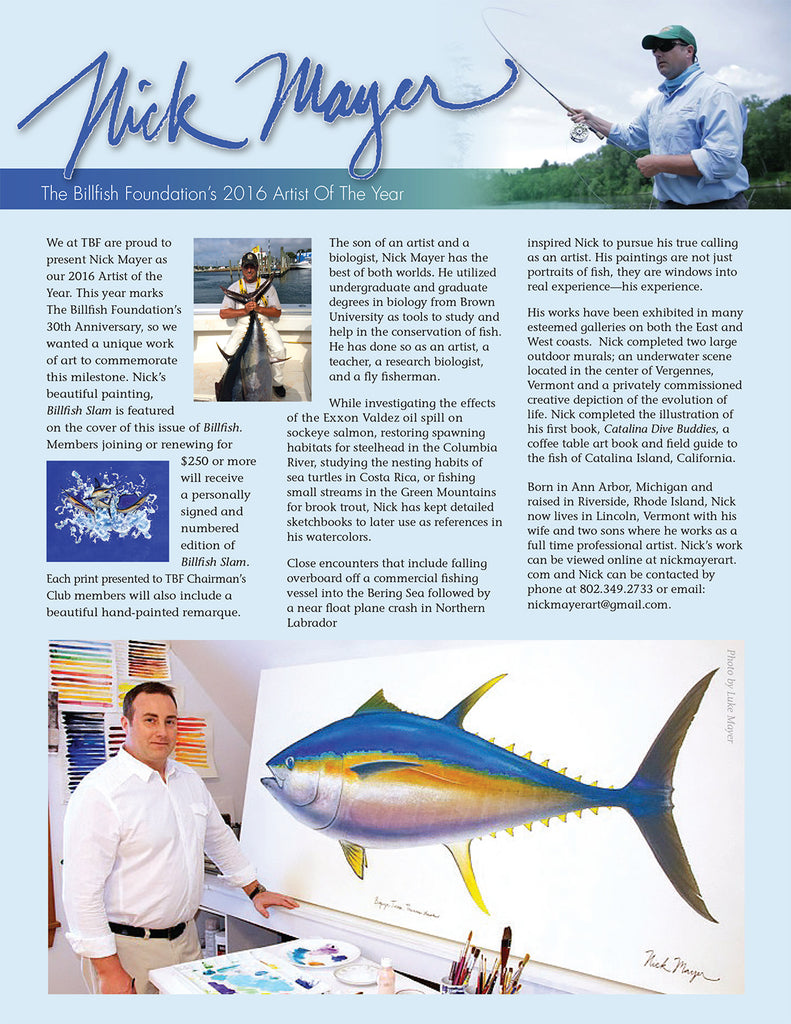 Nick Mayer Billfish Foundation Artist of the Year