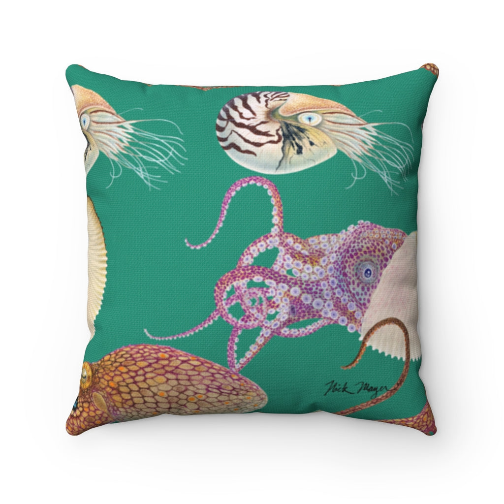 Green Tentacles Square Pillow