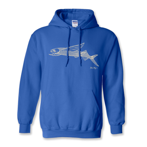 Flying Fish Drawing Warm Hoodie