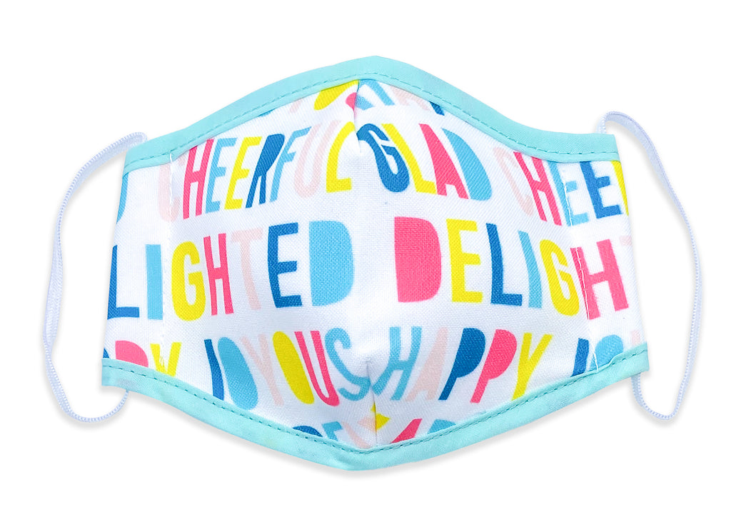 Reusable Face Mask Happy Letters