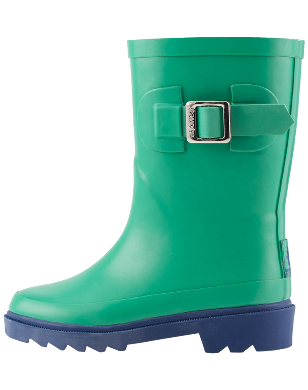 Green & Navy Buckle Rubber Rain Boots