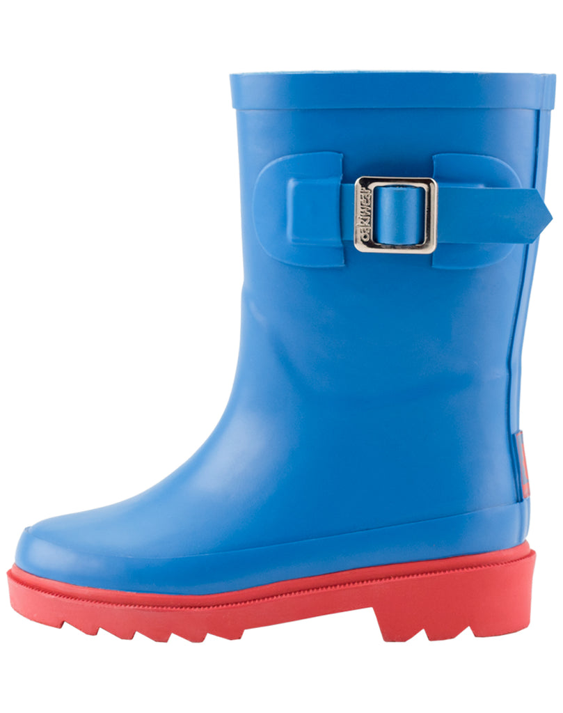 Bright Blue & Red Buckle Rubber Rain Boots