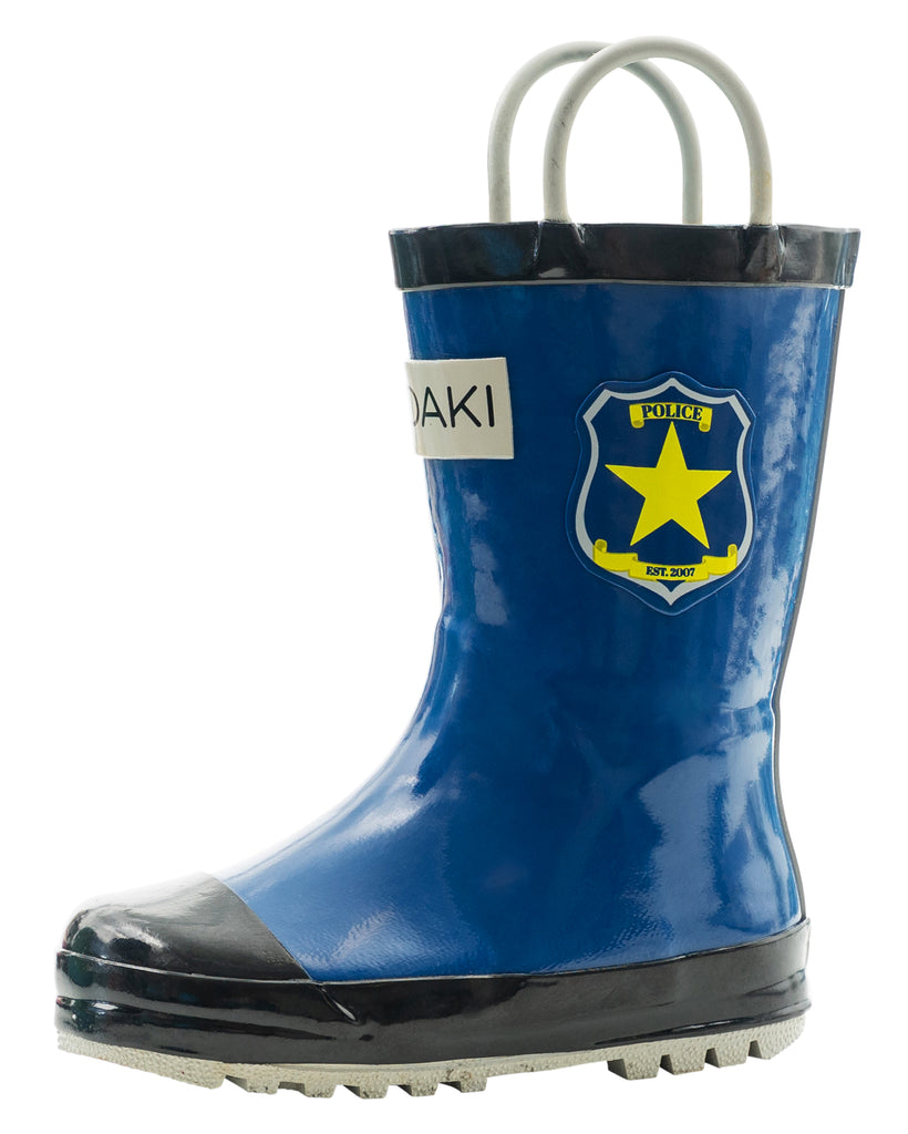 Police Patrol Loop Handle Rubber Rain Boots